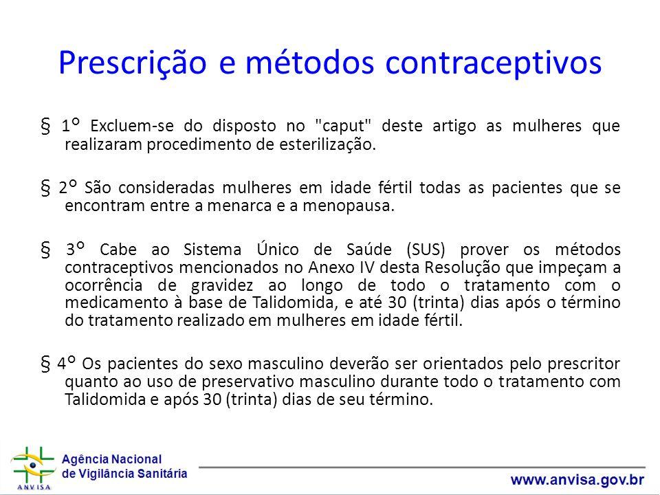 Prescrição e métodos contraceptivos § 1° Excluem-se do disposto no
