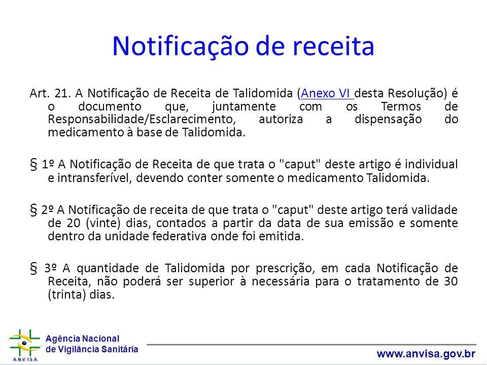 Notificação de receita Art. 21. A Notificação de Receita de Talidomida (Anexo VI desta Resolução) é o documento que, juntamente com os Termos de Respo