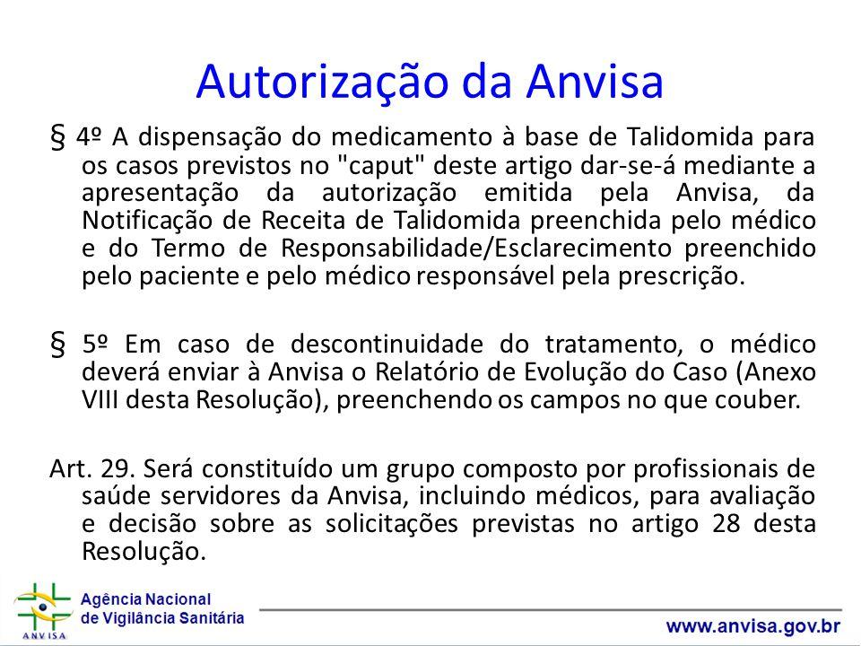 Autorização da Anvisa § 4º A dispensação do medicamento à base de Talidomida para os casos previstos no