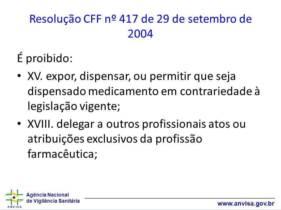 Resolução CFF nº 417 de 29 de setembro de 2004 É proibido: XV. expor, dispensar, ou permitir que seja dispensado medicamento em contrariedade à legisl