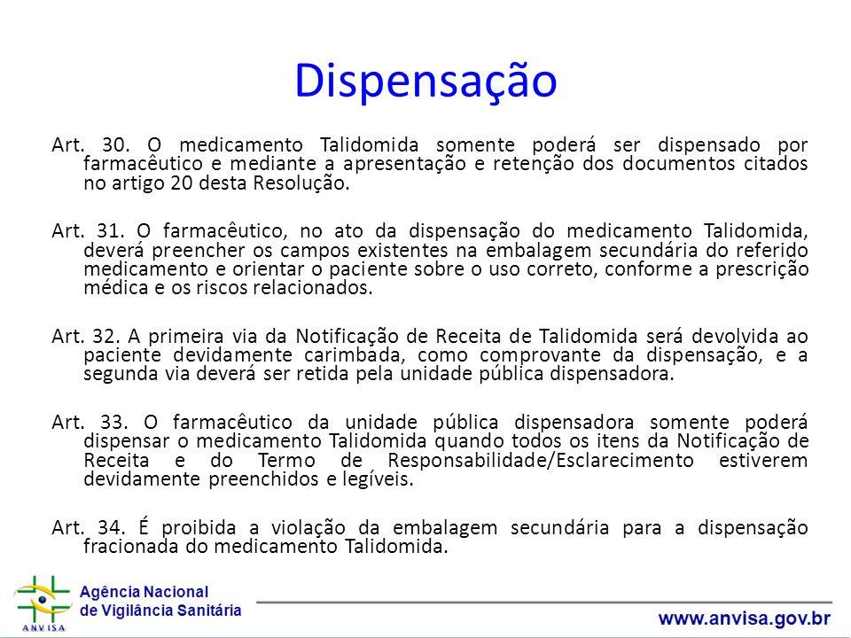 Dispensação Art. 30. O medicamento Talidomida somente poderá ser dispensado por farmacêutico e mediante a apresentação e retenção dos documentos citad