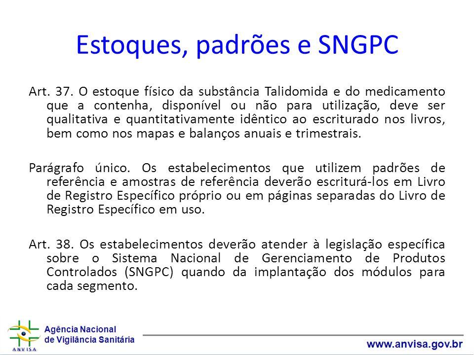 Estoques, padrões e SNGPC Art. 37. O estoque físico da substância Talidomida e do medicamento que a contenha, disponível ou não para utilização, deve