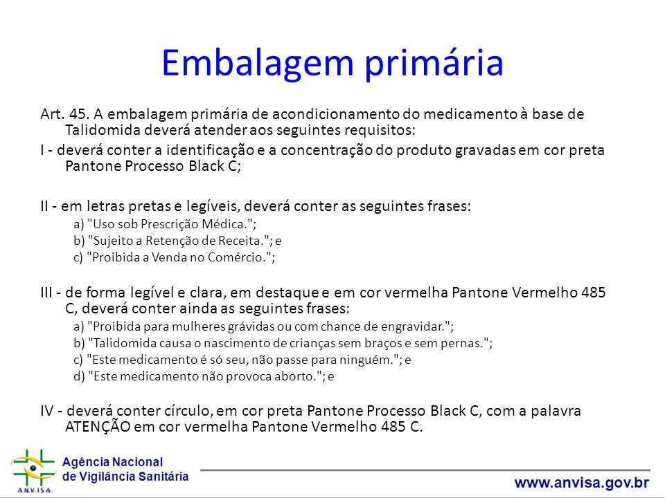 Embalagem primária Art. 45. A embalagem primária de acondicionamento do medicamento à base de Talidomida deverá atender aos seguintes requisitos: I -