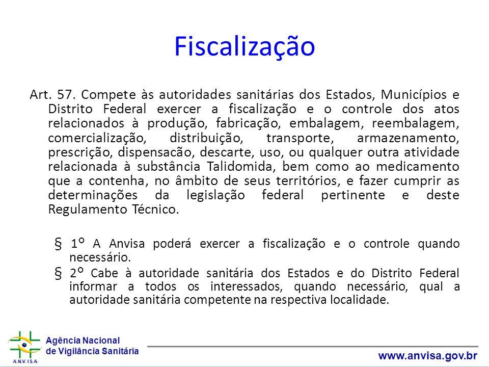 Fiscalização Art. 57. Compete às autoridades sanitárias dos Estados, Municípios e Distrito Federal exercer a fiscalização e o controle dos atos relaci