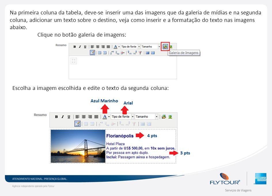Na primeira coluna da tabela, deve-se inserir uma das imagens que da galeria de mídias e na segunda coluna, adicionar um texto sobre o destino, veja c