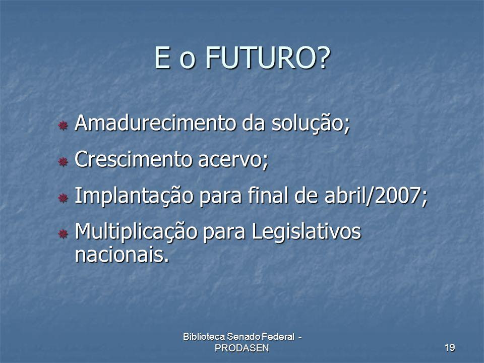 Biblioteca Senado Federal - PRODASEN19 E o FUTURO? Amadurecimento da solução; Amadurecimento da solução; Crescimento acervo; Crescimento acervo; Impla