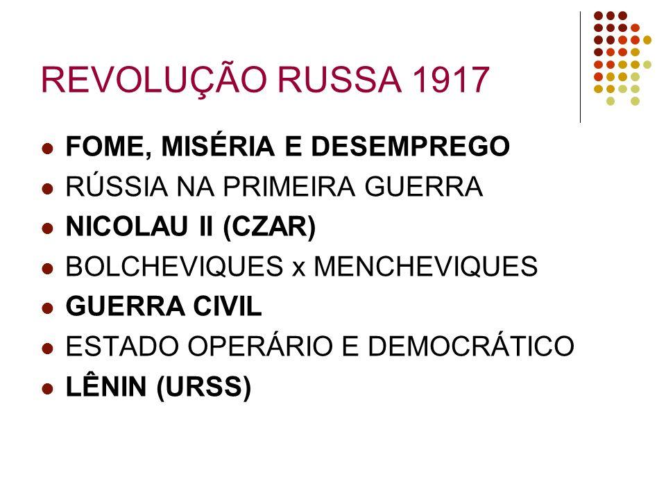 REVOLUÇÃO RUSSA 1917 FOME, MISÉRIA E DESEMPREGO RÚSSIA NA PRIMEIRA GUERRA NICOLAU II (CZAR) BOLCHEVIQUES x MENCHEVIQUES GUERRA CIVIL ESTADO OPERÁRIO E