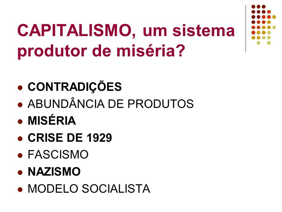 CAPITALISMO, um sistema produtor de miséria? CONTRADIÇÕES ABUNDÂNCIA DE PRODUTOS MISÉRIA CRISE DE 1929 FASCISMO NAZISMO MODELO SOCIALISTA