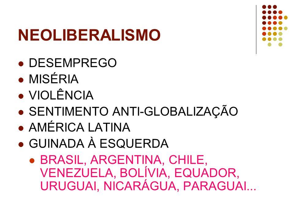 NEOLIBERALISMO DESEMPREGO MISÉRIA VIOLÊNCIA SENTIMENTO ANTI-GLOBALIZAÇÃO AMÉRICA LATINA GUINADA À ESQUERDA BRASIL, ARGENTINA, CHILE, VENEZUELA, BOLÍVI