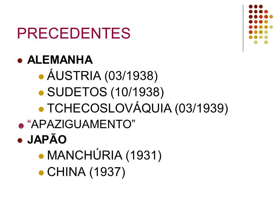 PRECEDENTES ALEMANHA ÁUSTRIA (03/1938) SUDETOS (10/1938) TCHECOSLOVÁQUIA (03/1939) APAZIGUAMENTO JAPÃO MANCHÚRIA (1931) CHINA (1937)