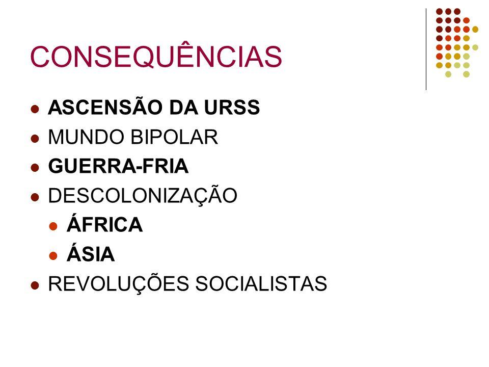 CONSEQUÊNCIAS ASCENSÃO DA URSS MUNDO BIPOLAR GUERRA-FRIA DESCOLONIZAÇÃO ÁFRICA ÁSIA REVOLUÇÕES SOCIALISTAS