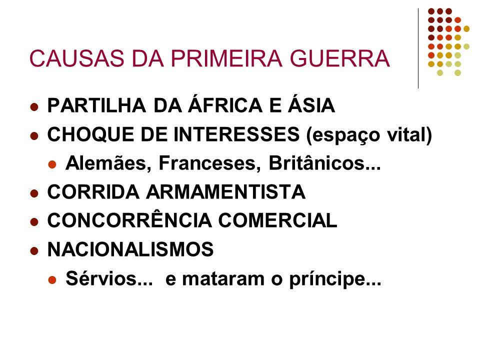 CAUSAS DA PRIMEIRA GUERRA PARTILHA DA ÁFRICA E ÁSIA CHOQUE DE INTERESSES (espaço vital) Alemães, Franceses, Britânicos... CORRIDA ARMAMENTISTA CONCORR