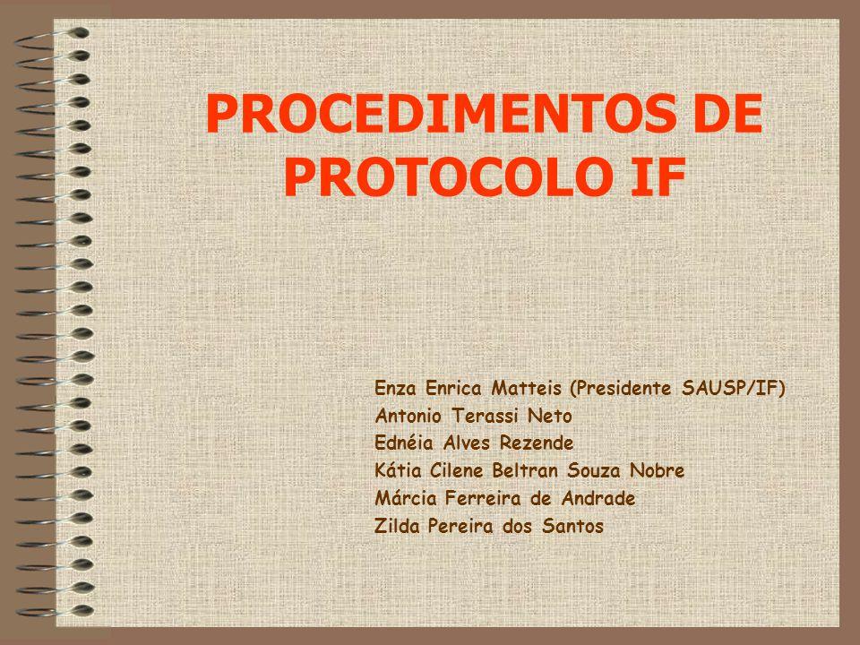 PROCEDIMENTOS DE PROTOCOLO IF Enza Enrica Matteis (Presidente SAUSP/IF) Antonio Terassi Neto Ednéia Alves Rezende Kátia Cilene Beltran Souza Nobre Már