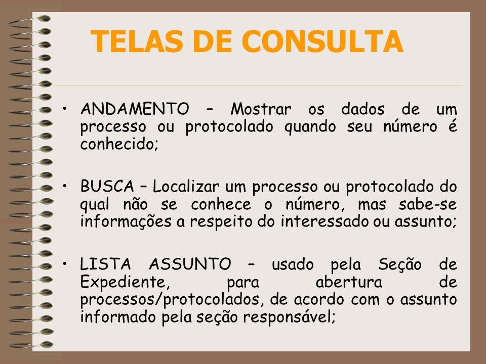 ANDAMENTO – Mostrar os dados de um processo ou protocolado quando seu número é conhecido; BUSCA – Localizar um processo ou protocolado do qual não se
