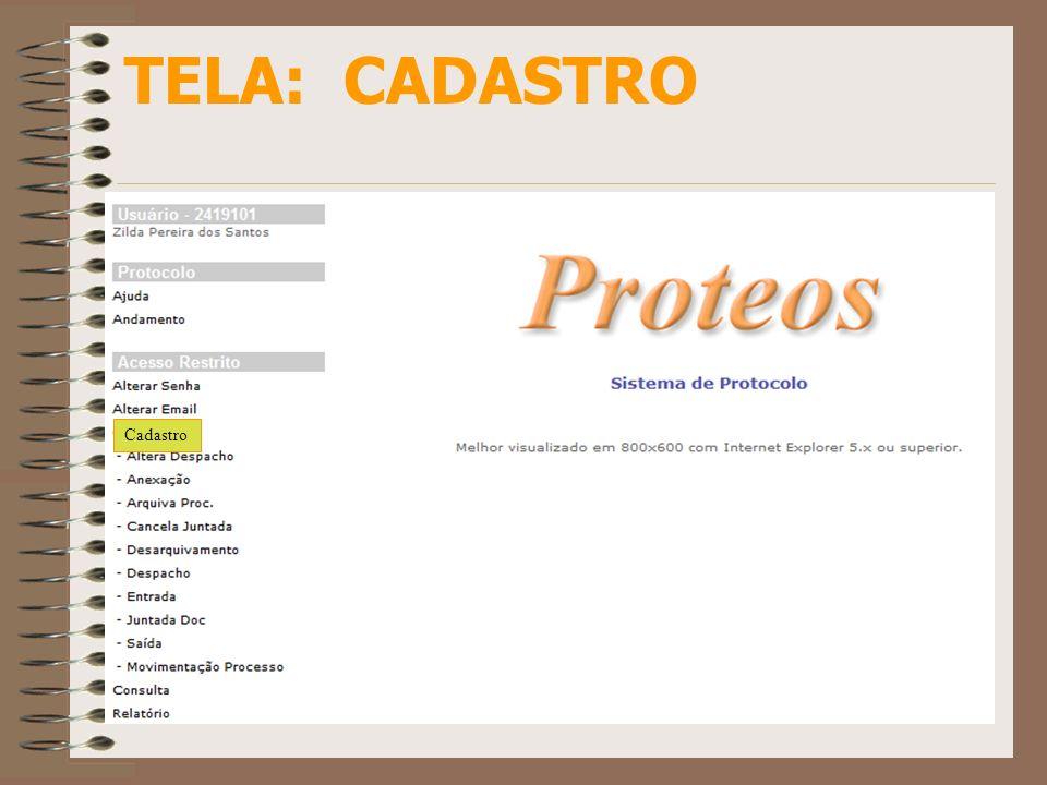 TELA: ENTRADA Ao receber um processo/protocolado, a primeira providência é registrar sua entrada no setor através do PROTEOS.