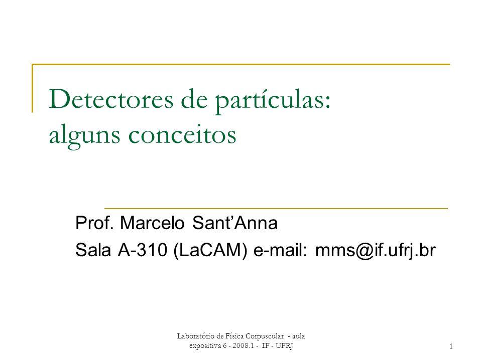 Laboratório de Física Corpuscular - aula expositiva 6 - 2008.1 - IF - UFRJ1 Detectores de partículas: alguns conceitos Prof.