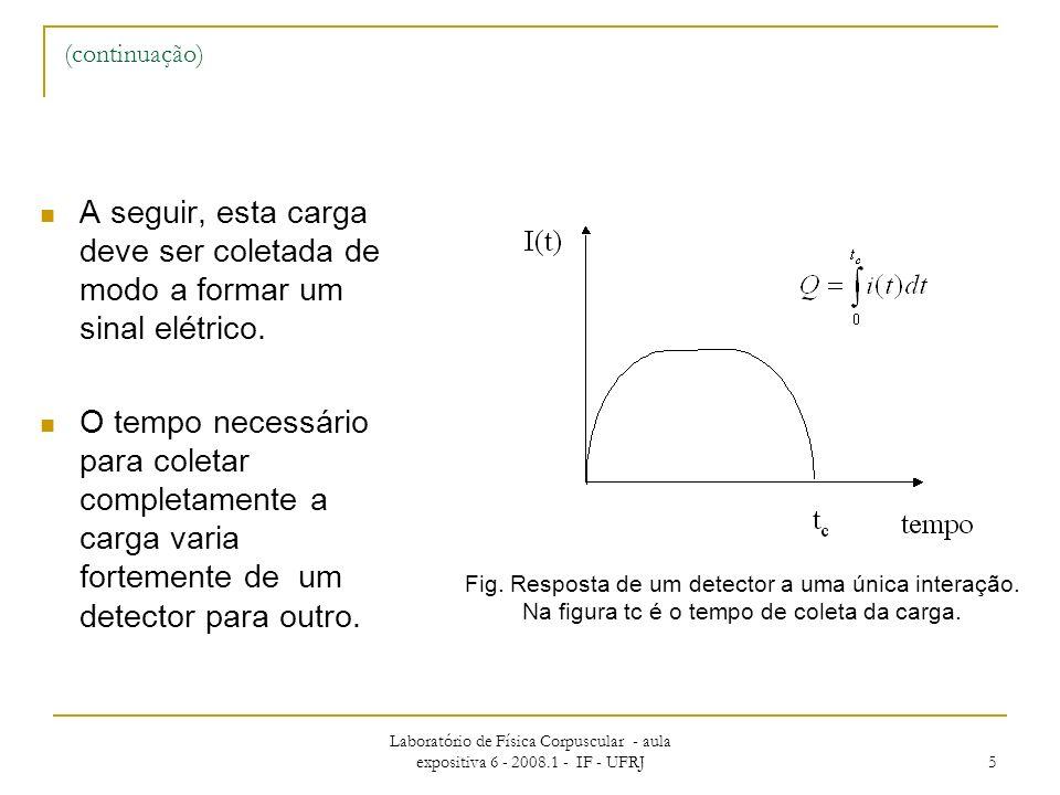 Laboratório de Física Corpuscular - aula expositiva 6 - 2008.1 - IF - UFRJ 5 (continuação) A seguir, esta carga deve ser coletada de modo a formar um sinal elétrico.