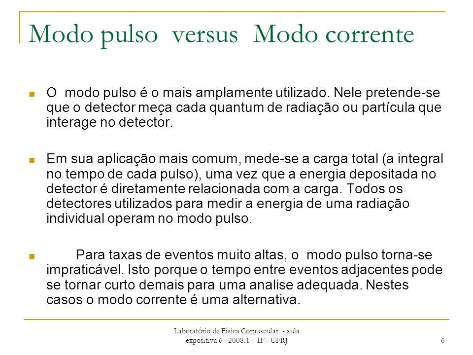 Laboratório de Física Corpuscular - aula expositiva 6 - 2008.1 - IF - UFRJ 6 Modo pulso versus Modo corrente O modo pulso é o mais amplamente utilizado.