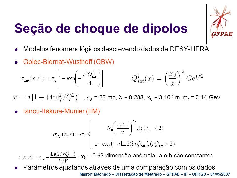 Seção de choque de dipolos Modelos fenomenológicos descrevendo dados de DESY-HERA Golec-Biernat-Wusthoff (GBW) Iancu-Itakura-Munier (IIM) Parâmetros a