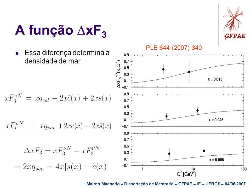 A função xF 3 Essa diferença determina a densidade de mar PLB 644 (2007) 340 Mairon Machado – Dissertação de Mestrado – GFPAE – IF – UFRGS – 04/05/200