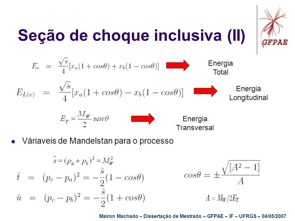 Seção de choque inclusiva (II) Energia Total Energia Longitudinal Energia Transversal Váriaveis de Mandelstan para o processo Mairon Machado – Dissert
