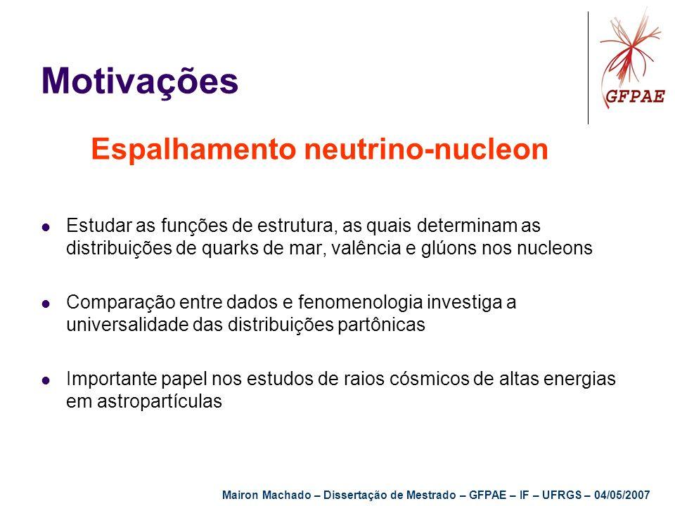 Motivações Espalhamento neutrino-nucleon Estudar as funções de estrutura, as quais determinam as distribuições de quarks de mar, valência e glúons nos