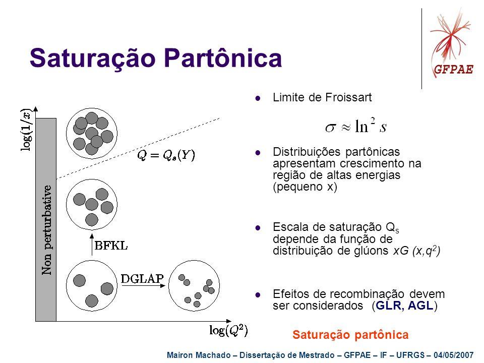 Saturação Partônica Limite de Froissart Distribuições partônicas apresentam crescimento na região de altas energias (pequeno x) Escala de saturação Q