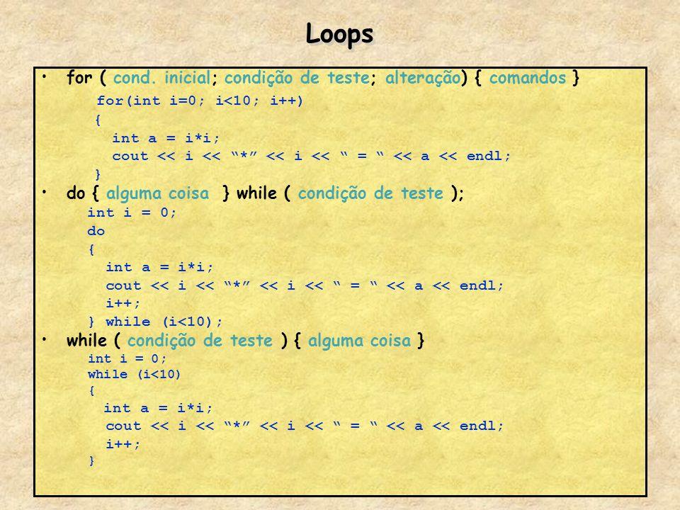 Loops for ( cond. inicial; condição de teste; alteração) { comandos } for(int i=0; i<10; i++) { int a = i*i; cout << i << * << i << = << a << endl; }