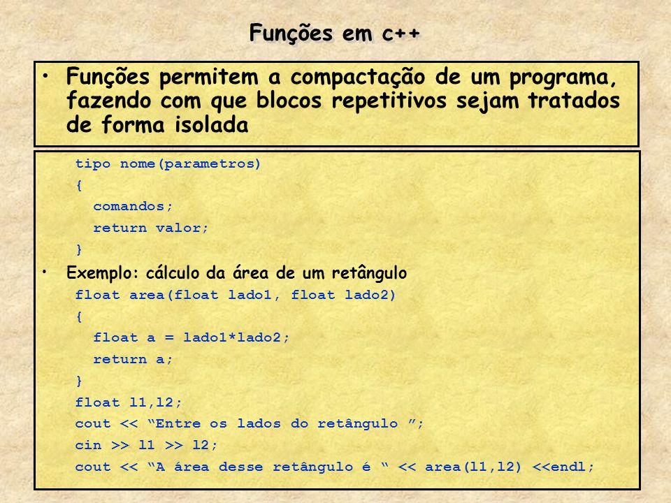 Funções em c++ Funções permitem a compactação de um programa, fazendo com que blocos repetitivos sejam tratados de forma isolada tipo nome(parametros)