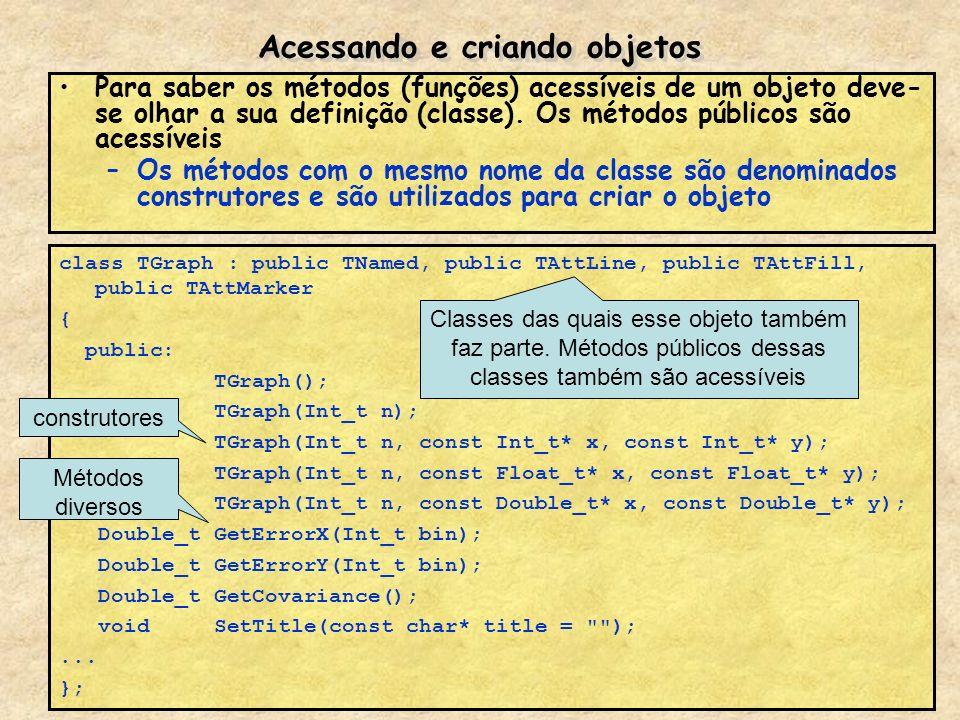 Acessando e criando objetos Para saber os métodos (funções) acessíveis de um objeto deve- se olhar a sua definição (classe). Os métodos públicos são a