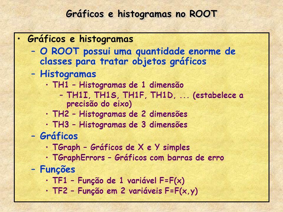 Gráficos e histogramas no ROOT Gráficos e histogramas –O ROOT possui uma quantidade enorme de classes para tratar objetos gráficos –Histogramas TH1 –