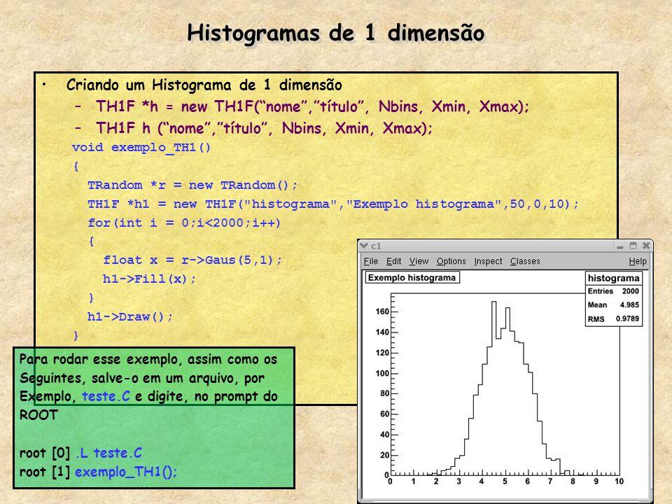 Histogramas de 1 dimensão Criando um Histograma de 1 dimensão –TH1F *h = new TH1F(nome,título, Nbins, Xmin, Xmax); –TH1F h (nome,título, Nbins, Xmin,