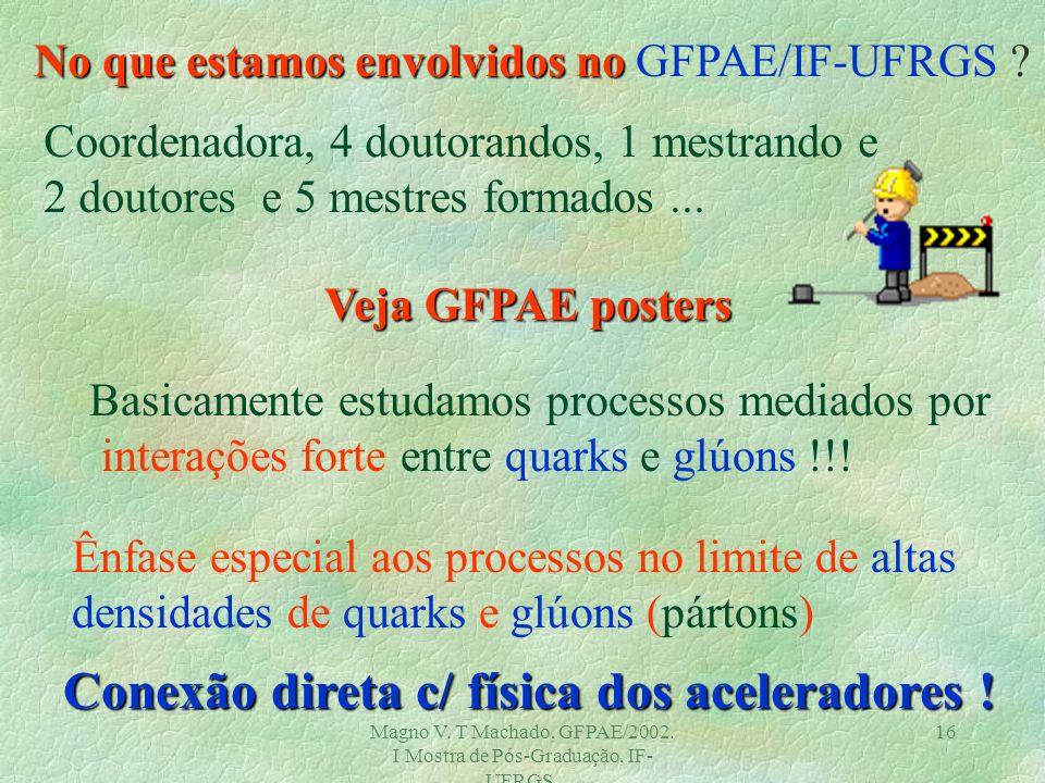 Magno V. T Machado, GFPAE/2002. I Mostra de Pós-Graduação, IF- UFRGS. 15 Um Exemplo - RHIC no BNL