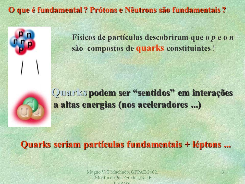 Magno V. T Machado, GFPAE/2002. I Mostra de Pós-Graduação, IF- UFRGS. 2 O Núcleo é fundamental ?. Prótons e nêutrons constituem o núcleo: estes são fu