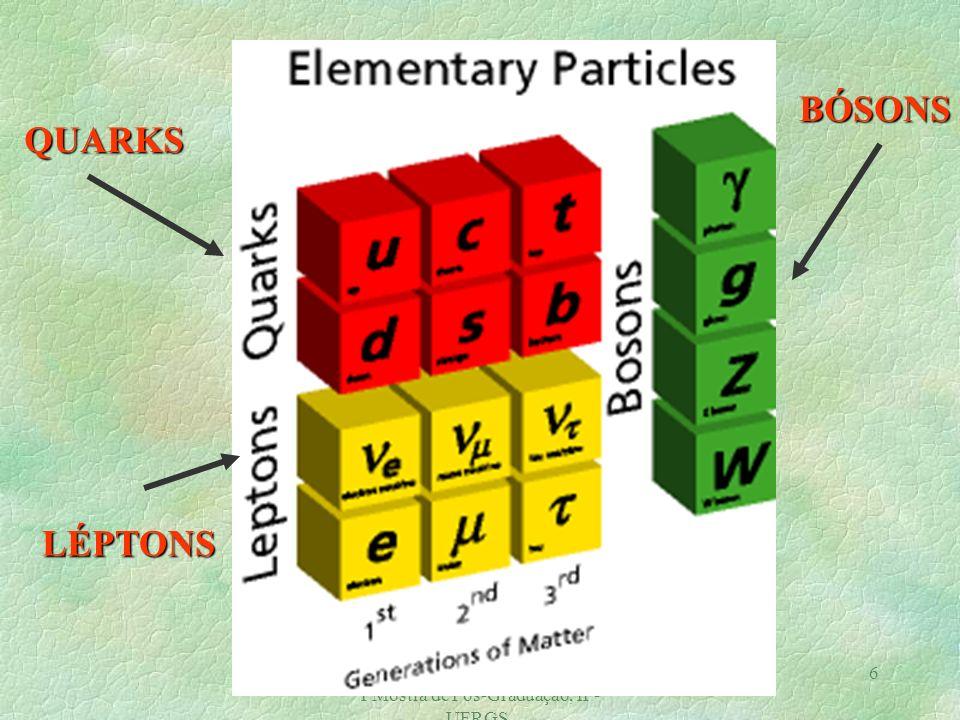 Magno V. T Machado, GFPAE/2002. I Mostra de Pós-Graduação, IF- UFRGS. 5 O Modelo Padrão Ingredientes Básicos: Quarks nº quântico cor Quarks : partícul