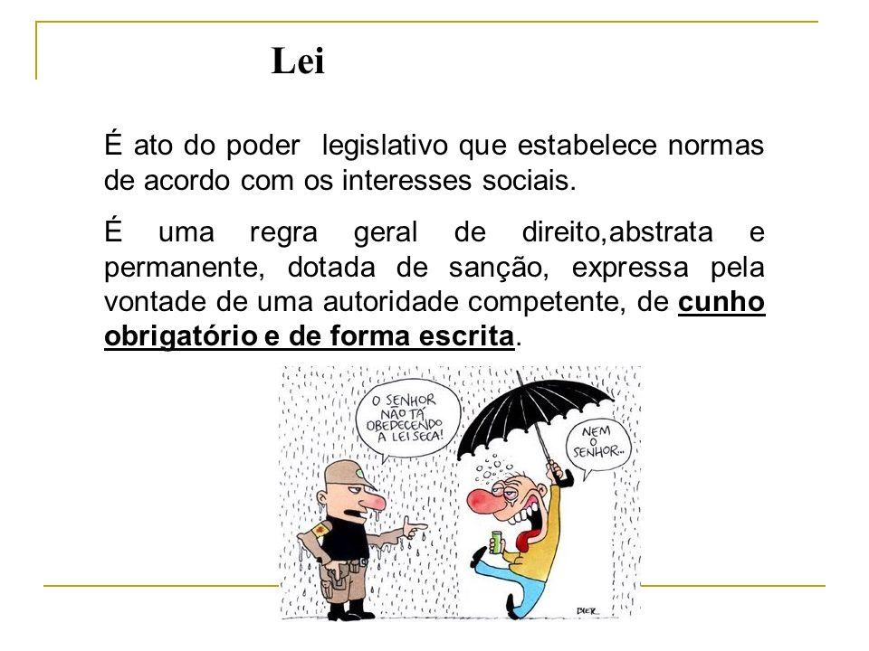 Passos para se ter uma lei: Iniciativa da lei; Exame pelas comissões técnicas, discussão e aprovação; Revisão do projeto; Sanção ou Veto Promulgação