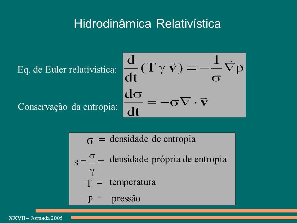 XXVII – Jornada 2005 Eq. de Euler relativística: Conservação da entropia: densidade própria de entropia densidade de entropia temperatura pressão Hidr