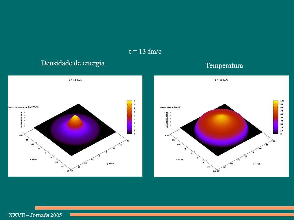 XXVII – Jornada 2005 Densidade de energia Temperatura t = 13 fm/c