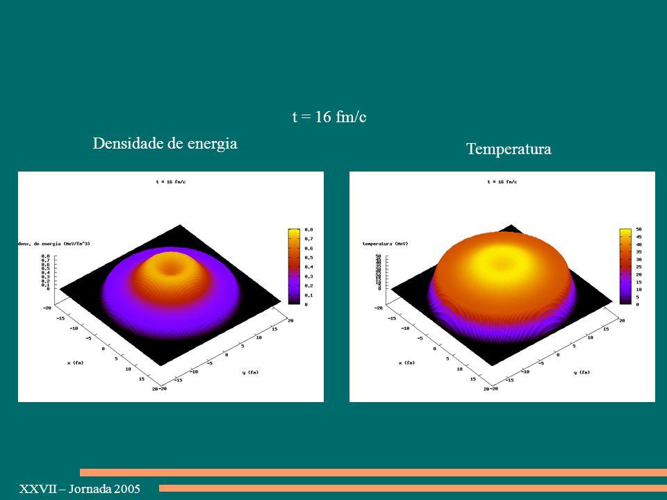 XXVII – Jornada 2005 Densidade de energia Temperatura t = 16 fm/c