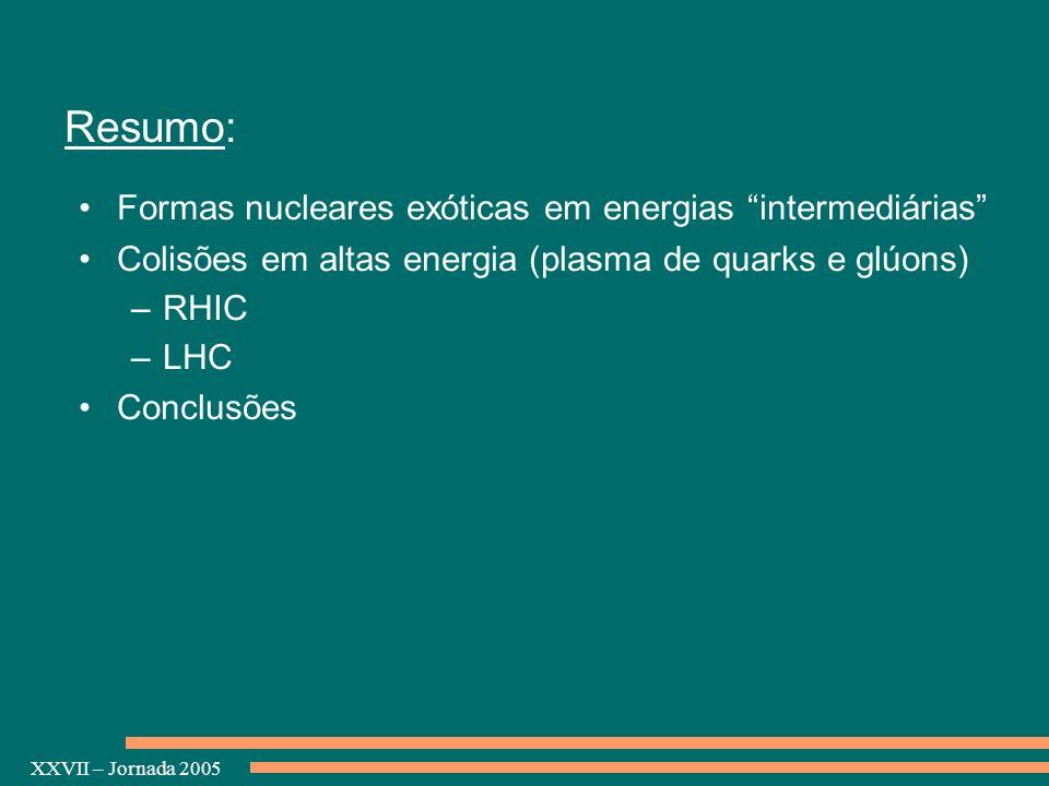 XXVII – Jornada 2005 Resumo: Formas nucleares exóticas em energias intermediárias Colisões em altas energia (plasma de quarks e glúons) –RHIC –LHC Con