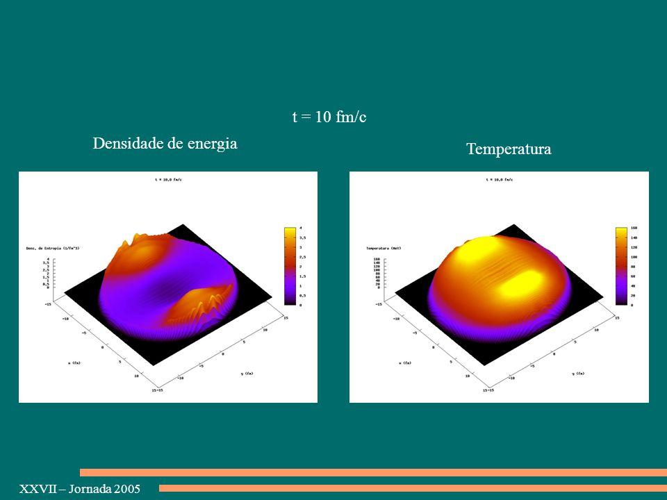 XXVII – Jornada 2005 Densidade de energia Temperatura t = 10 fm/c
