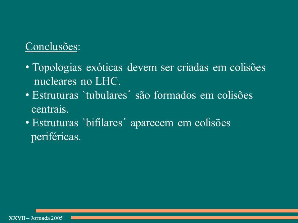 XXVII – Jornada 2005 Conclusões: Topologias exóticas devem ser criadas em colisões nucleares no LHC. Estruturas `tubulares´ são formados em colisões c