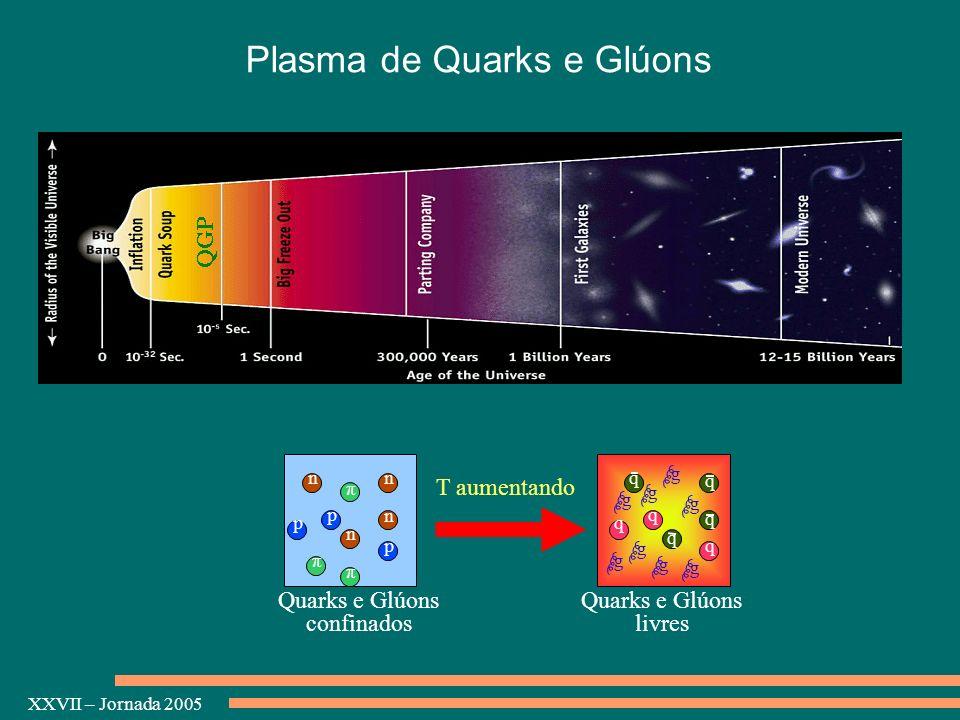 XXVII – Jornada 2005 Plasma de Quarks e Glúons n p π p p n n n π π T aumentando q q q q g g g g g g g g Quarks e Glúons livres Quarks e Glúons confina
