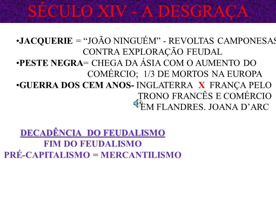 BAIXA IDADE MÉDIA SÉCULOS: X AO XIV CRUZADAS: AUMENTO POPULACIONA -> ESVAZIAR FEUDOS E LIBERTAR JERUSALÉM DOS MUÇULMANOS CONSEQUÊNCIAS: ABERTURA DO MEDITERRÂNEO RETOMADA COMÉRCIO OCIDENTE ORIENTE RENASCIMENTO COMERCIAL E URBANO NOVA CLASSE SOCIAL: BURGUESIA CORPORAÇÕES DE OFÍCIO DOS ARTESÃOS DECADÊNCIA DO SENHOR FEUDAL ALIANÇA REI + BURGUESIA = MONARQUIAS NACIONAIS