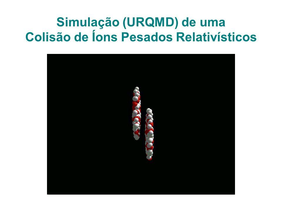 Simulação (URQMD) de uma Colisão de Íons Pesados Relativísticos