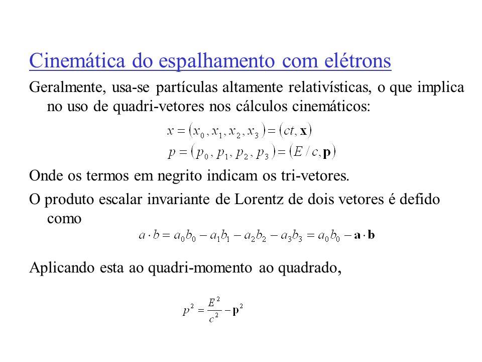 Cinemática do espalhamento com elétrons Geralmente, usa-se partículas altamente relativísticas, o que implica no uso de quadri-vetores nos cálculos ci