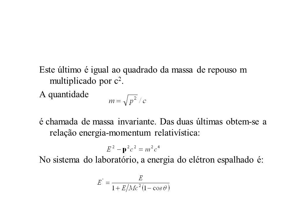 Este último é igual ao quadrado da massa de repouso m multiplicado por c 2. A quantidade é chamada de massa invariante. Das duas últimas obtem-se a re