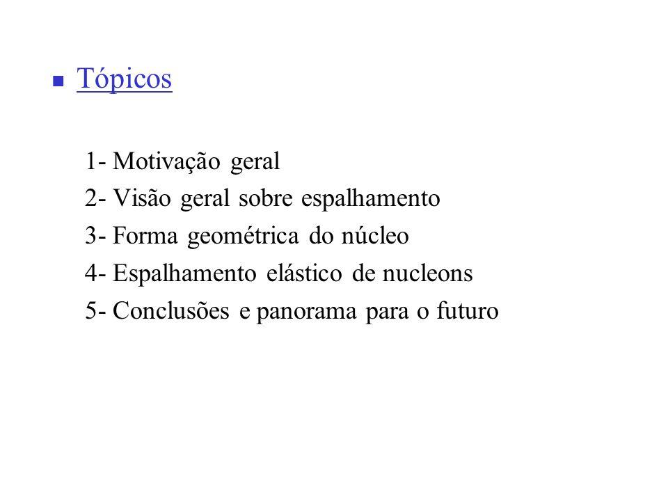 Tópicos 1- Motivação geral 2- Visão geral sobre espalhamento 3- Forma geométrica do núcleo 4- Espalhamento elástico de nucleons 5- Conclusões e panora