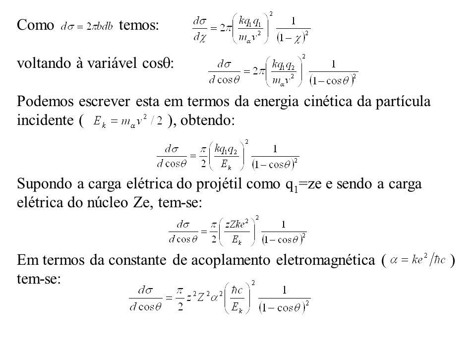 Supondo a carga elétrica do projétil como q 1 =ze e sendo a carga elétrica do núcleo Ze, tem-se: Em termos da constante de acoplamento eletromagnética