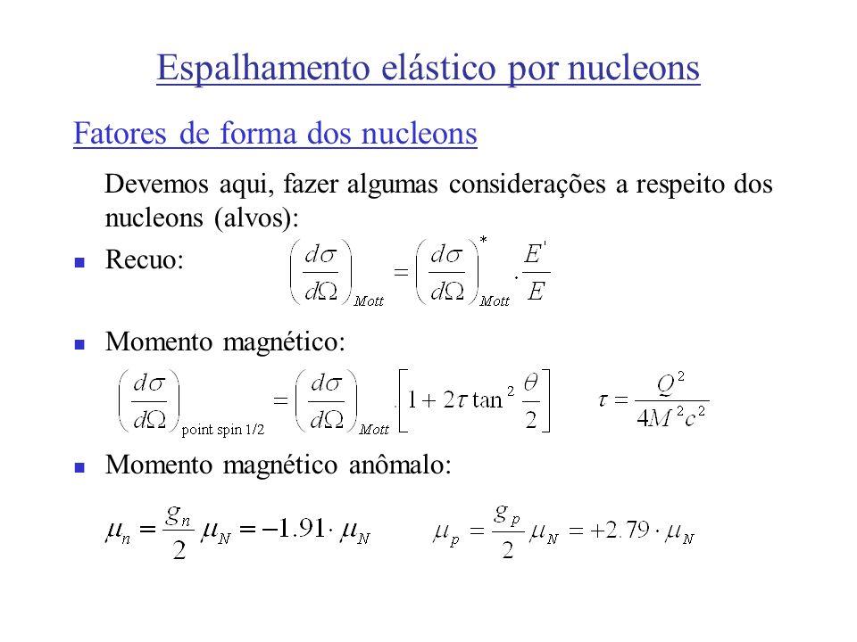 Espalhamento elástico por nucleons Fatores de forma dos nucleons Devemos aqui, fazer algumas considerações a respeito dos nucleons (alvos): Recuo: Mom